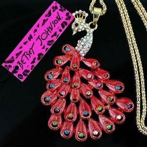 Betsey Johnson Peacock Crystal AB Gold Necklace